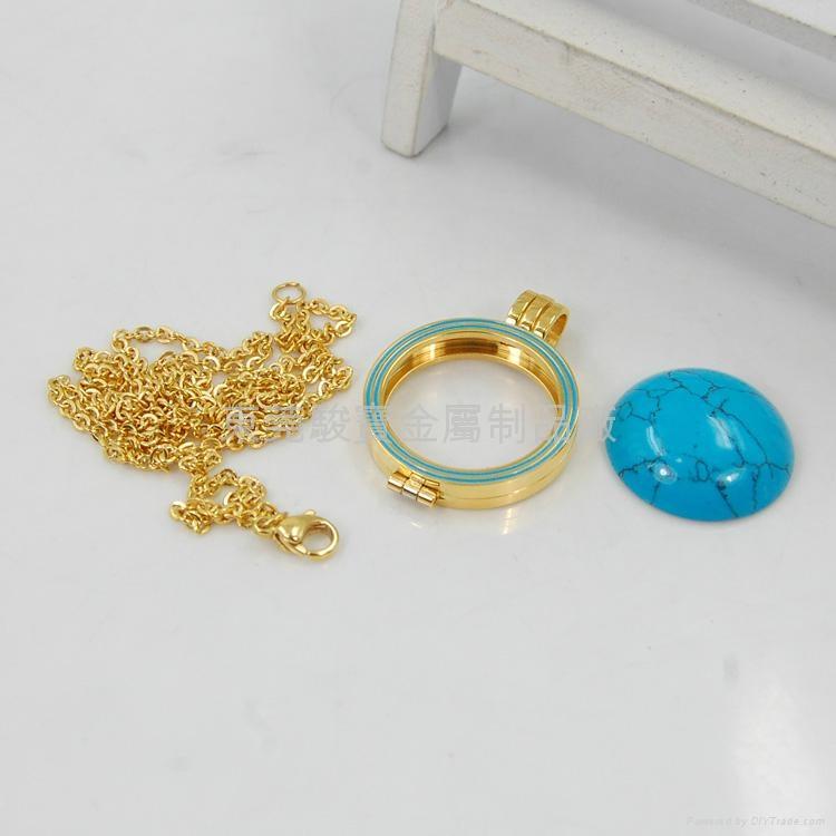 时尚金色不锈钢吊坠和蓝松石吊坠 3