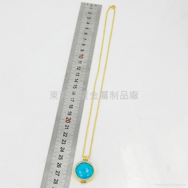 时尚金色不锈钢吊坠和蓝松石吊坠 5