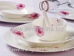 红粉佳人骨质瓷餐具