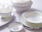 浅兰花骨质瓷餐具