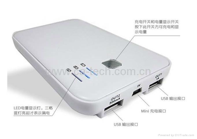 5000mAh Dual USB Power Bank  For  iPhone/MP3/MP4/Mobile 2