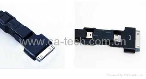 多功能三合一伸缩线数据线mini micro iphone伸缩线三合一 2