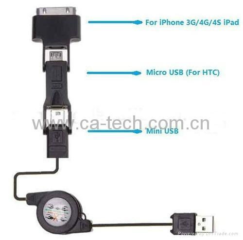 多功能三合一伸缩线数据线mini micro iphone伸缩线三合一 4