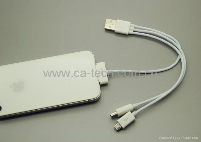 一拖三 一分三 苹果 三星平板 USB 数据线 HTC手机充电线 连接线 4