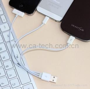 iPhone5/4+micro 三合一充电线 一拖三数据线 苹果多功能多头线 5