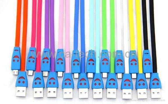 Smiley Face Micro USB Cable with LED Light For SAMSUNG HTC Charging/Data Cable 2