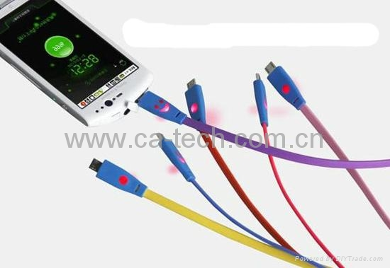 Smiley Face Micro USB Cable with LED Light For SAMSUNG HTC Charging/Data Cable 4
