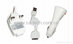 iPhone 4GS 4G  USB Car Charger,USB Travel  Charger &USB Data Cable