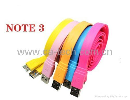 三星Note3彩色大面条数据线  11MM Micro USB3.0大面条数据线 2