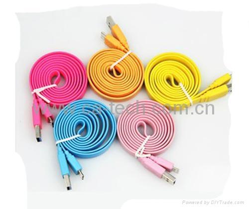 三星Note3彩色大面条数据线  11MM Micro USB3.0大面条数据线 4