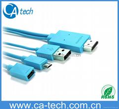 MHL-micro usb视频线 MHL HDMI 高清视频线 HTC/三星S3 S4