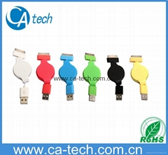 USB iPhone4s Retractable Cable  USB iPhone4 Retractable Cable