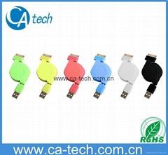 Colorful iphone 4/4s/ipod/ipad portable retractable cable
