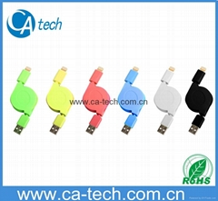 NEW USB colour data and charger sync retractable cable for iPhone 5s/iPad