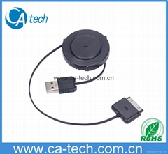 One side pull out retractable cable for iPhone4 4S