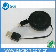 One side pull out retractable cable for iPhone5/5C/5S
