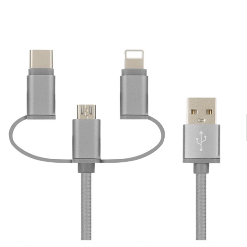 3 IN 1  Nylon braided   usb cable for iphone android and type c  1