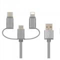 3 IN 1  Nylon braided   usb cable for iphone android and type c