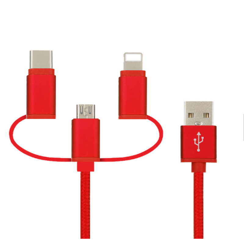 3 IN 1  Nylon braided   usb cable for iphone android and type c  4