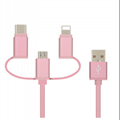 3 IN 1  Nylon braided   usb cable for iphone android and type c  3
