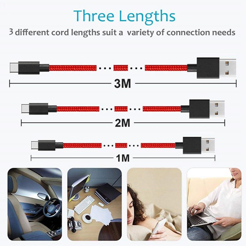 Fast charger USB3.1 Type C Cable for Samsung Galaxy Note8 S8 S9 11