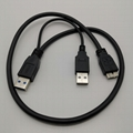 1.0M USB3.0 Y cable  USB3.0AM  to Micro 3.0M+USB2.0AM for Extral Hard Disk BK