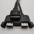 Panel Mount Dual USB 3.0 A Female to  20pin Female Adapter Cable