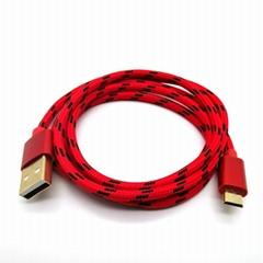 镀金尼绒编织数据充电线Micro USB