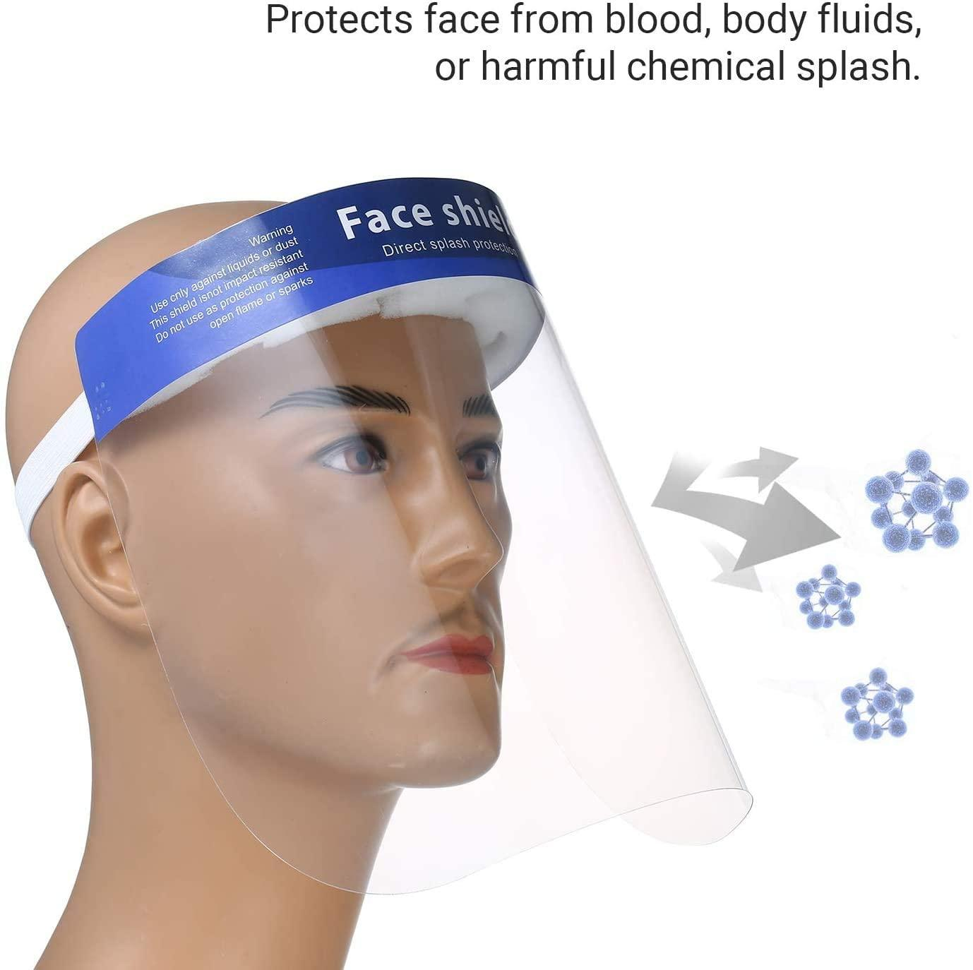 100PCS FDA Approved Face Shield with Protective Clear Film Protect Eyes and Face