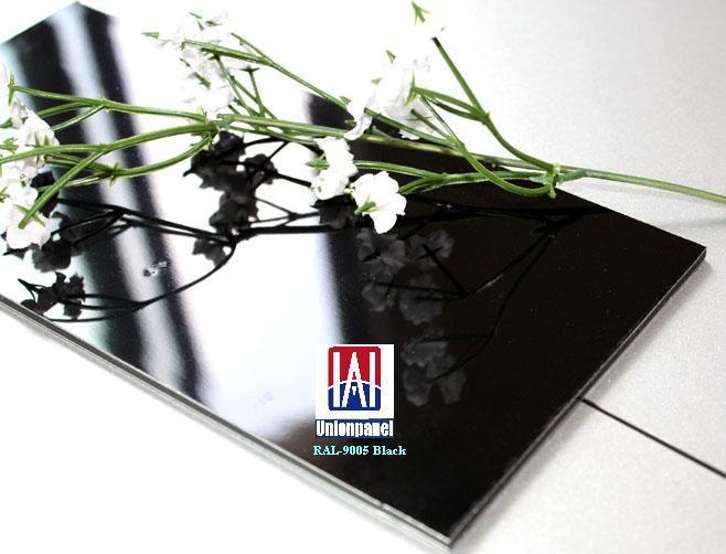 High gloss pe aluminium composite panel ral 9005 black for Aluminium decoration