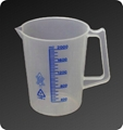 Beakers With blue printed graduation and