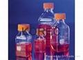 Square Media Bottles, PET, Sterile,