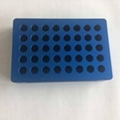 Blue 40 hole UCoolRack Metal Thermoblock Vial rack Test Tube Rack