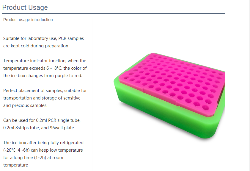 PCR test tube cooling rack lab 96 well color indicate cryo box 4
