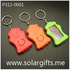 Shaped solar LED flashlight keychain P312-0001