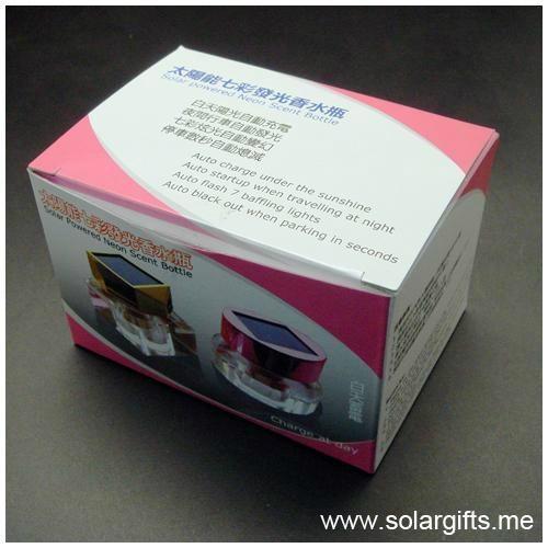 汽车摆设装饰品 太阳能七彩发光礼品三棱水晶香水瓶 空气清新剂 5