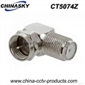 Coaxial Type F Female to F Male Right Angle Adapter/Connector (CT5074)