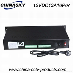 12VDC 13A 16Ch Rack Mount CCTV Power Supply, PTC Resettable Fuse 12VDC13A16P/R