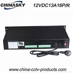 12VDC 13A 16Ch Rack Mount CCTV Power Supply, PTC Resettable Fuse 12VDC13A16P/R