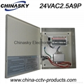 CCTV AC Power Supply with metal box 24V2.5A9chnnel(24VAC2.5A9P)
