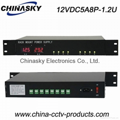 LED Display  Rack Mount CCTV Power Supply (12VDC5A8P-1.2U)
