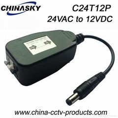 24VAC to 12VDC Voltage Convertor for CCTV Security Camera (C24T12P)