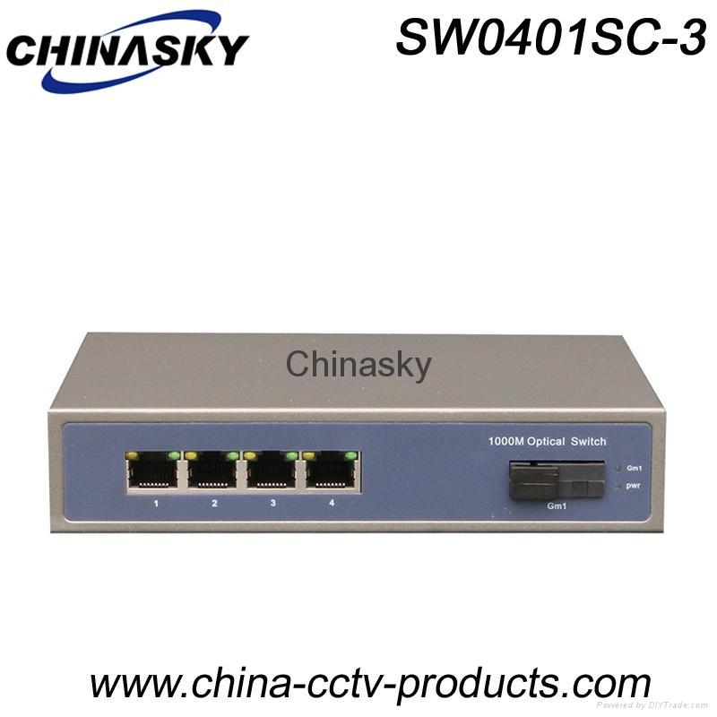 1000Mbps 1 Port Sc + 4 Port RJ45 Full Gigabit Ethernet Switch (SW0401SC-3) 1