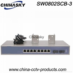 8 RJ45 Port+ 2 Sc Port  Ethernet Switch Gigabit (SW0802SCB-3)