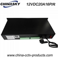 12VDC 20A 16Ch Rack Mount CCTV Power Supply, PTC Resettable Fuse (12VDC20A16P/R)