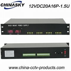 16 Channel 20 Amp 1.5U Rack Mount 12V DC Led display(12VDC20A16P-1.5U)