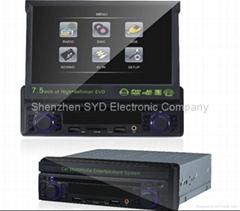厂家供应CMS750-7.5寸 超低价 热销 单绽伸缩车载DVD 高清播放器