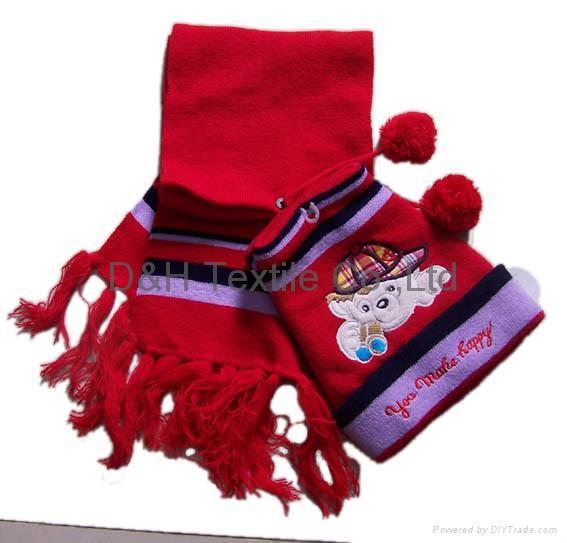 professional Knitted crochet hat warm glove scarf beanie 9
