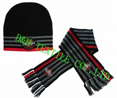 Beanie hat/ Knitted sets with woven badge