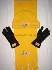Polar Fleece Beanie glove scarf Set/Warm
